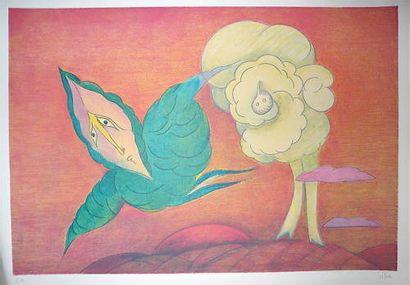 SILVA Julio  Lithographie,  signée en bas...