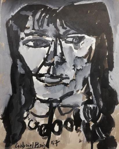 PARIS Gabriel  portrait de femme 1957  Gouache...
