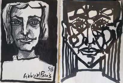 PARIS Gabriel  1958  2 dessins encre et crayon....
