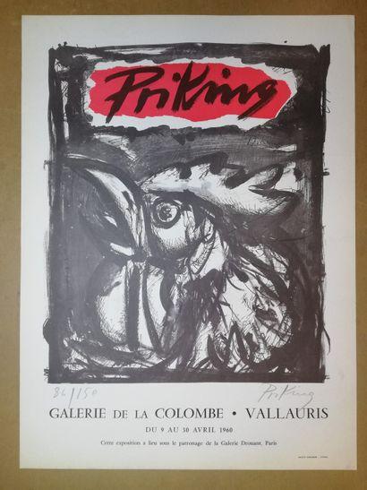 PRIKING  VALLAURIS  Affiche originale lithographie....