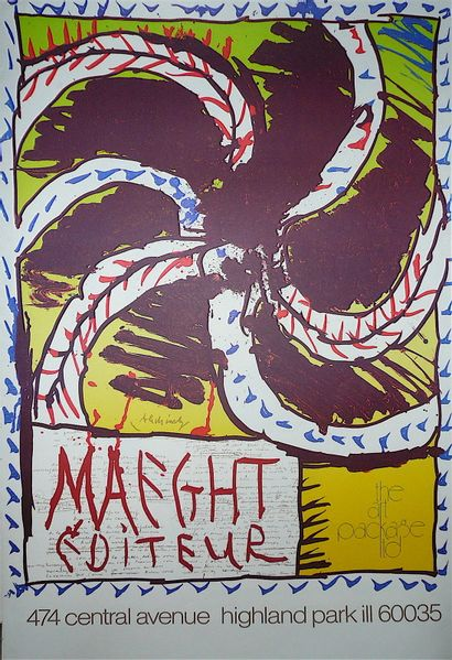 ALECHINSKY Pierre  1982  Highland park the art package ltd. Affiche originale. Signature...