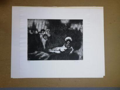 LANNOY René  Gravure sur papier. Signée en...