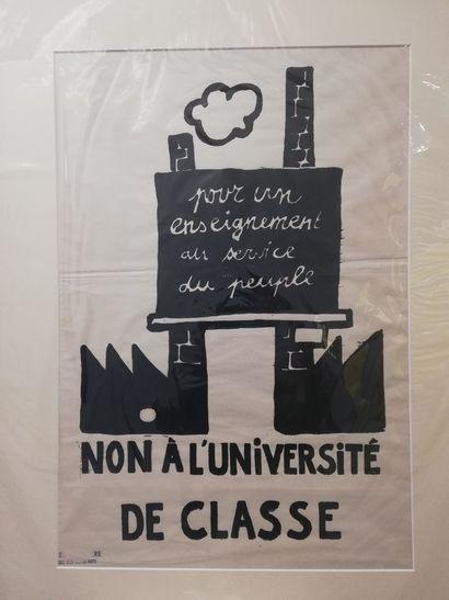 """Mai 68  """"Pour un enseignement au service du peuple"""" 1968  Affiche originale Mai..."""