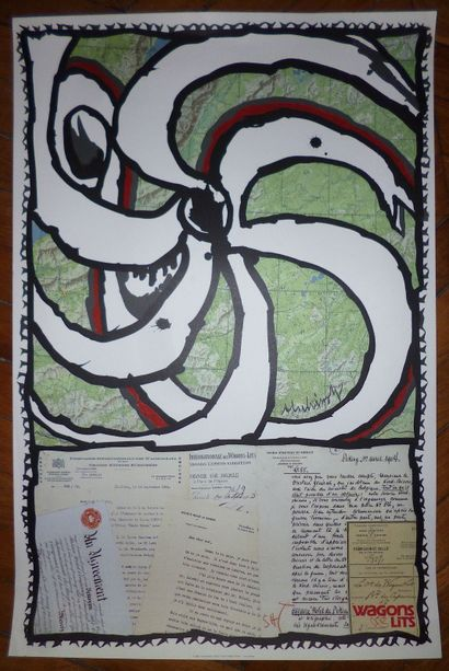 """ALECHINSKY Pierre  Original offset poster 1989  made for the """" Wagons Lits """",  size..."""