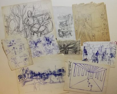 PARIS Gabriel  lot de 9 dessins  Encre et...