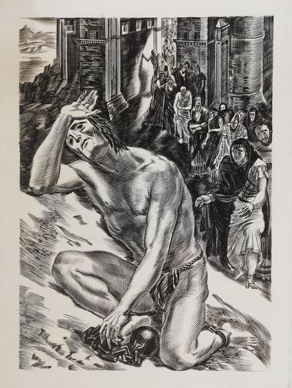 DECARIS Albert  Samson - John Milton  Gravure...
