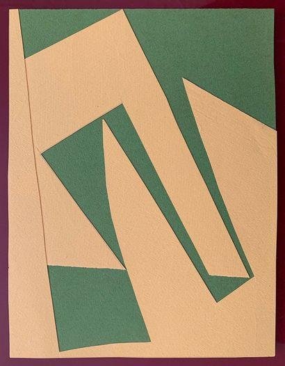 MORTENSEN Richard    1961  Collage sur papier. Signé au dos  25 x 19 cm