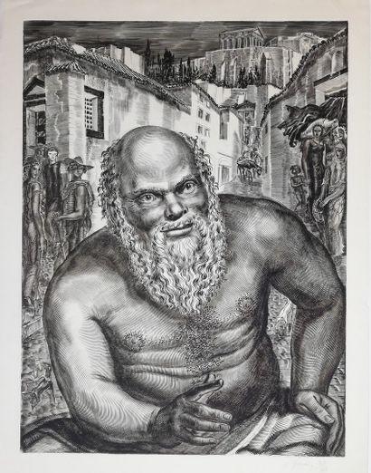 DECARIS Albert  Socrate 1952  Gravure originale...