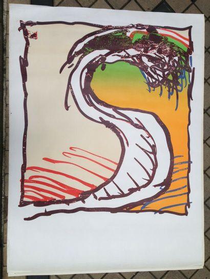 """ALECHINSKY Pierre    1981  Affiche originale """"avant la lettre"""". Exposition Maeght..."""