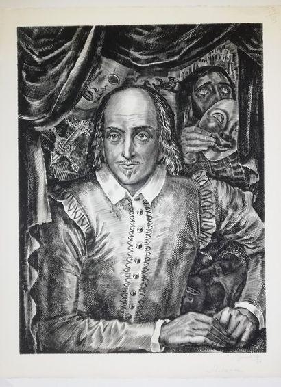 DECARIS Albert  Shakespeare  Gravure originale...