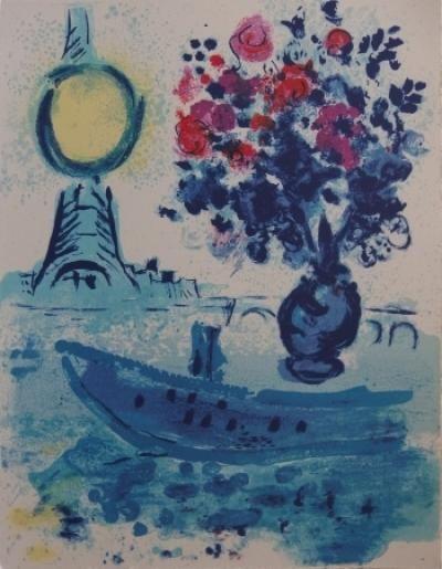 CHAGALL Marc  Lithographie sur Japon « bateau...