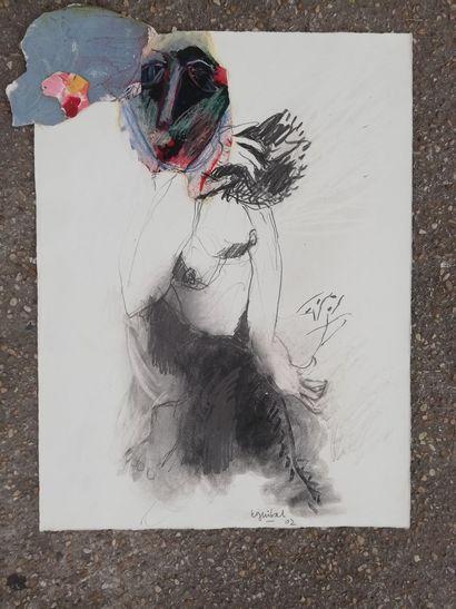 GUIBAL Henri  Crayon, collage, pastel et...
