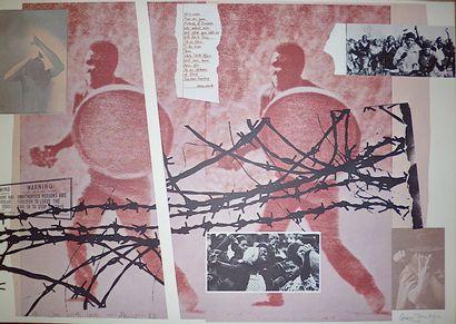 JANTJES Gavin  Lithographie « contre l'apartheid...