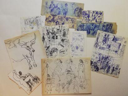 PARIS Gabriel  lot de 11 dessins  Encre,...
