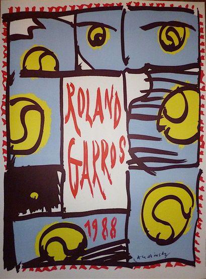 ALECHINSKY Pierre  Affiche originale 1988 « Rolland Garros »  Signature imprimée...