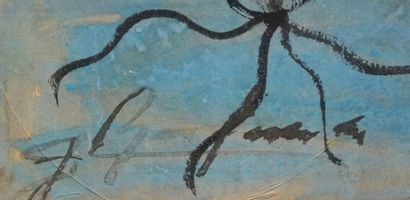 UNKNOWN ARTIST (FENOSA?)  Gouache on paper. Signed lower left illegible.  75x48cm...