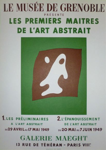 ARP Hans    The first masters of abstract art  Poster in Lithography 1949. Mourlot...