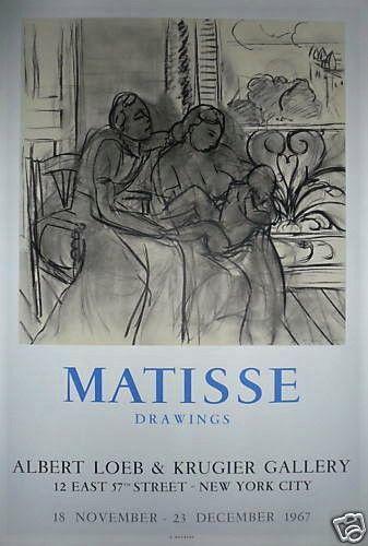 MATISSE Henri    1967  Affiche en Lithographie. Exposition de dessins à New-York....