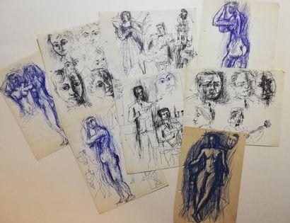 PARIS Gabriel  lot de 8 dessins  Encre sur...