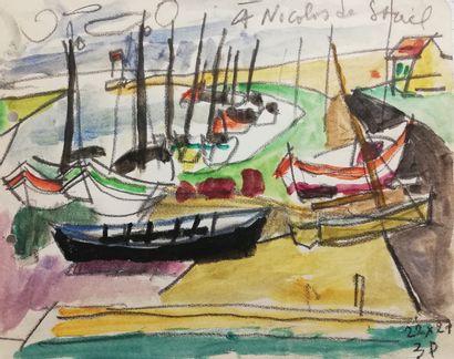 PARIS Gabriel  Aquarelle et crayon sur papier....
