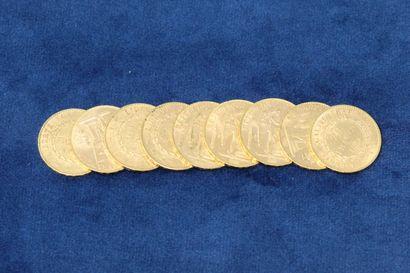 9 pièces en or de 20 Francs au Génie, 1895...
