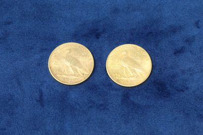 """2 gold coins of 10 dollars """"Indian Head Eagle"""" 1912x2.  Weight : 33.42g.  VG to..."""