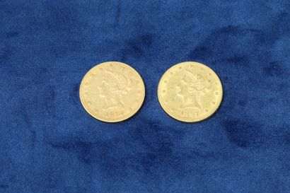 2 pièces en or de 10 dollars