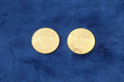 """2 pièces en or de 10 dollars """"Coronet Head Eagle"""" 1882x2.  Poids : 33.43g.  TB à..."""