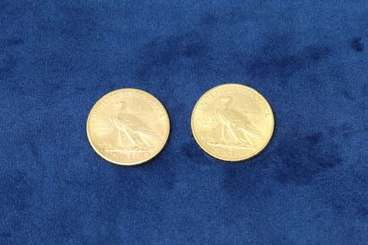 """2 pièces en or de 10 dollars """"Indian Head Eagle"""" 1910x2.  Poids : 33.42g.  TB à..."""