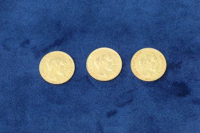 3 pièces en or de 20 Francs Napoléon III...