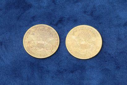"""2 pièces en or de 20 dollars """"Liberty Head double Eagle"""" 1904x2.  Poids : 66.86g...."""