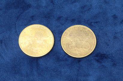 """2 pièces en or de 20 dollars """"Liberty Head double Eagle"""" 1896x2.  Poids : 66.86g...."""