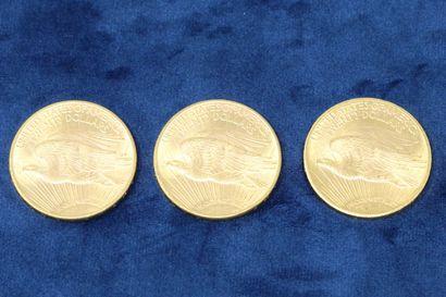 """3 pièces en or de 20 dollars """"Saint Gaudens double Eagle"""" 1914x2, 1927.  Poids :..."""