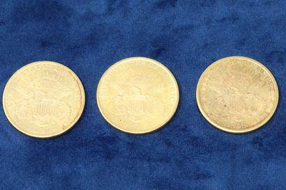 """3 pièces en or de 20 dollars """"Liberty Head double Eagle"""" 1890, 1891x2.  Poids :..."""