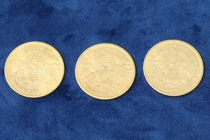 """3 gold coins of 20 dollars """"Liberty Head double Eagle"""" 1873, 1874, 1876.  Weight..."""