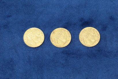 3 pièces en or de 20 Francs Cérès, 1850 A,...