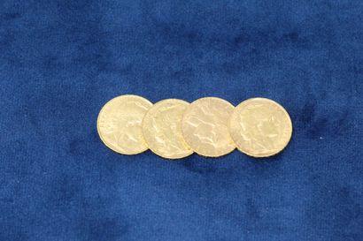 4 pièces en or de 20 Francs au Coq, 1900,...