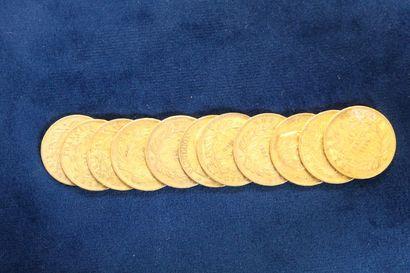 11 pièces en or de 20 Francs Napoléon III...