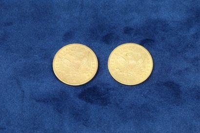 """2 pièces en or de 10 dollars """"Coronet Head Eagle"""" 1899x2.  Poids : 33.43g.  TB à..."""