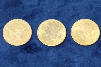 """3 pièces en or de 20 dollars """"Liberty Head double Eagle"""" 1889, 1898, 1899.  Poids..."""