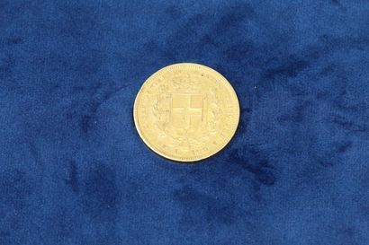1 gold coin of 100 Lire Charles-Albert 1835 P (Turin), eagle.  Weight : 32.32g....
