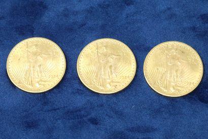 """3 pièces en or de 20 dollars """"Saint Gaudens double Eagle"""" 1924x3.  Poids : 100.29g...."""