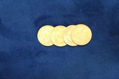 Lot de quatre pièces en or de 20 francs...