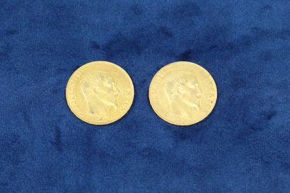 2 pièces en or de 50 Francs Napoléon III tête nue, 1857 A (Paris), 1859 BB (Strasbourg)....