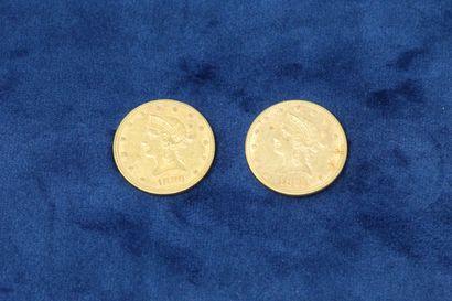 "2 pièces en or de 10 dollars ""Coronet Head Eagle"" 1880, 1885.  Poids : 33.43g.  TB..."