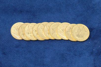 10 Souverains en or Georges V 1902x4, 1903x6....