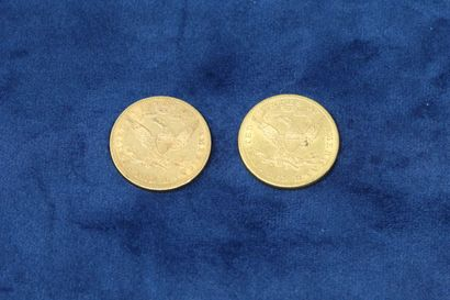 """2 gold coins of 10 dollars """"Coronet Head Eagle"""" 1897x2.  Weight : 33.43g.  VG to..."""