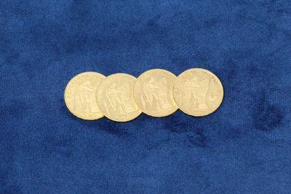 4 pièces en or de 20 Francs au Génie, 1877...