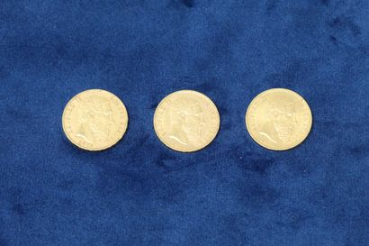 3 pièces en or de 20 Francs Belges Léopold...