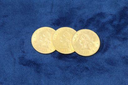 3 pièces en or de 10 dollars